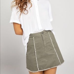 BCBGeneration Frayed Stretch Denim Mini Skirt